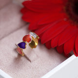 "Silver ring ""Scarlet Heart"" with 18K gold plating. rs2001 - Namfleg Enamel Jewelry"