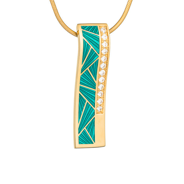 "Silver pendant ""Vitrail"" with 18K gold plating. pg2006 - Namfleg Enamel Jewelry"