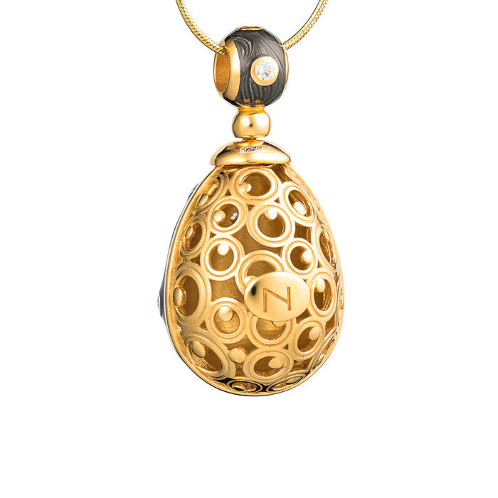 "Silver pendant ""Grey Silk"" with 18K gold plating. pp2002 - Namfleg Enamel Jewelry"