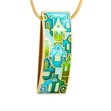 "Silver pendant ""Mostar Houses"" with 18K gold plating. Special edition. pd2006p - Namfleg Enamel Jewelry"