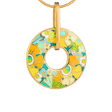 "Silver pendant ""Asian Buttercup"" with 18K gold plating. pc2008 - Namfleg Enamel Jewelry"