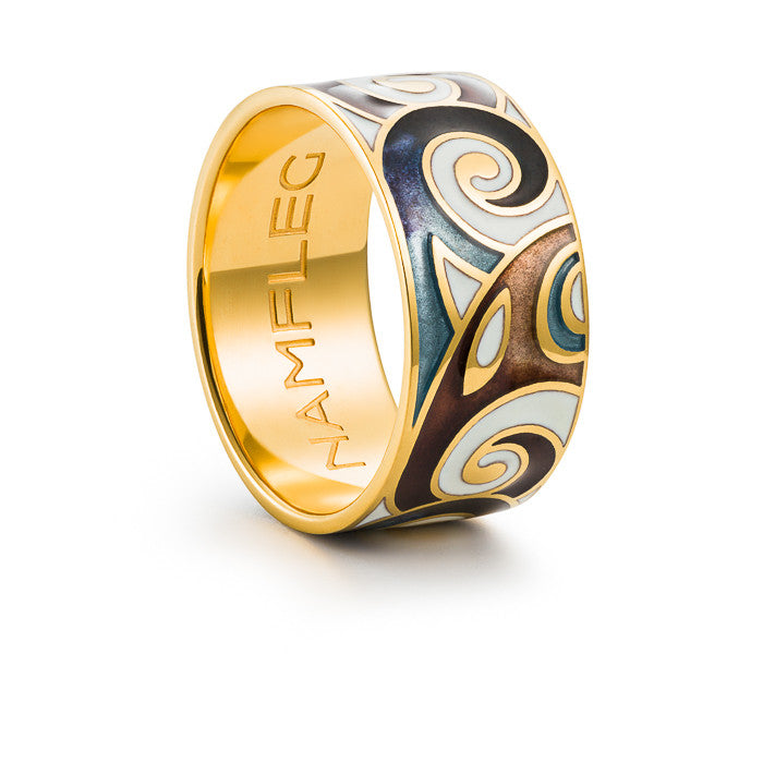 "Silver ring ""Fenrir"" with 18K gold plating. ro2059 - Namfleg Enamel Jewelry"