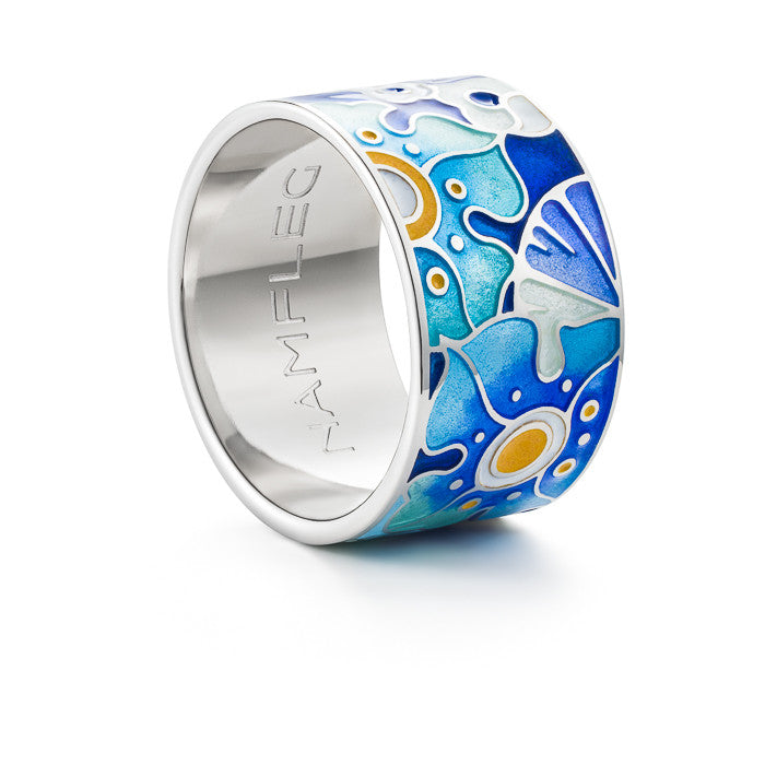 "Silver ring ""Faithful Forget-me-not"". rc1005 - Namfleg Enamel Jewelry"