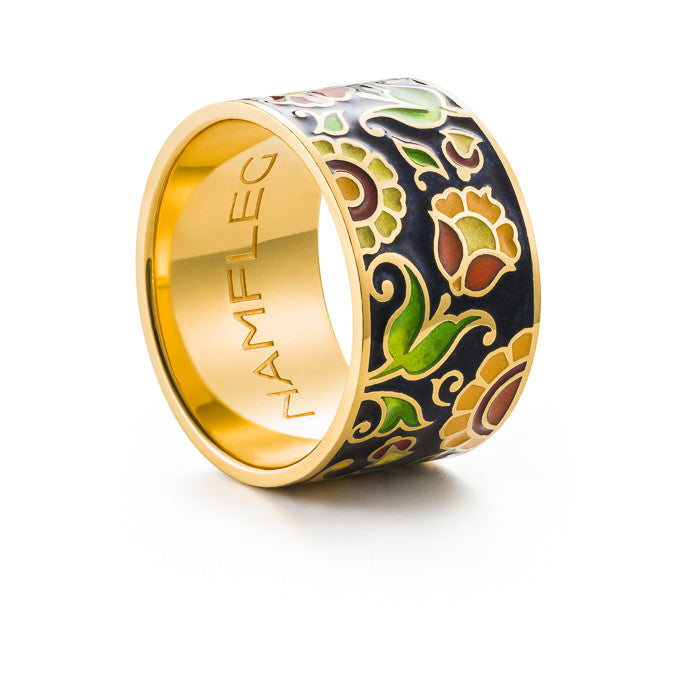 "Silver ring ""Russian Princess"" with 18K gold plating. rm2003 - Namfleg Enamel Jewelry"