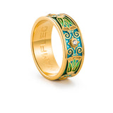 "Silver ring ""Bodhi"" with 18K gold plating. rl2006 - Namfleg Enamel Jewelry"