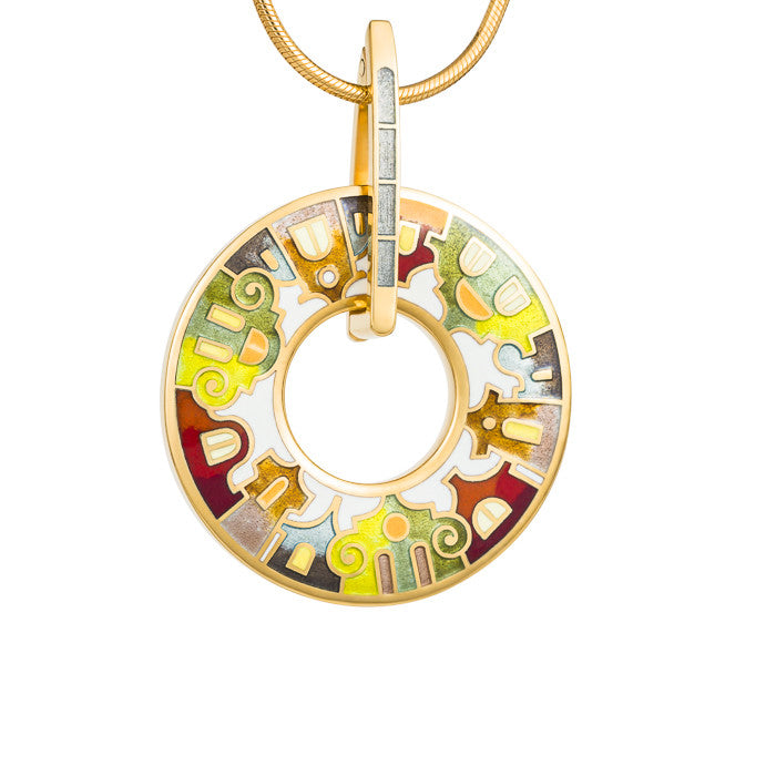 "Silver pendant ""Split Houses""with 18K gold plating. Special edition. pd2001 - Namfleg Enamel Jewelry"