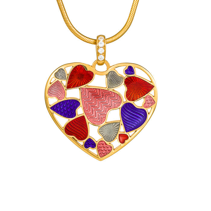 "Silver pendant ""Scarlet Heart"" with 18K gold plating. ps2001 - Namfleg Enamel Jewelry"