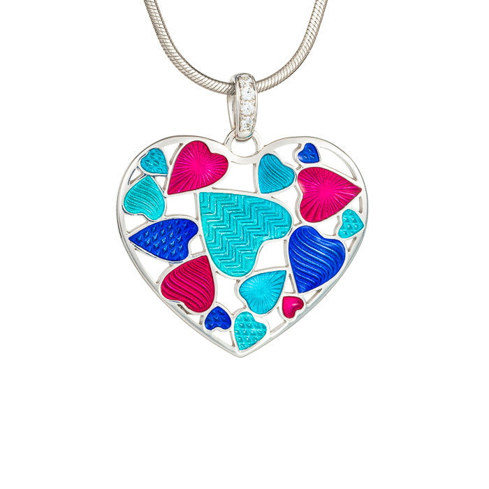 "Silver earrings ""Turquoise Heart"" with 18K gold plating. ps1003 - Namfleg Enamel Jewelry"