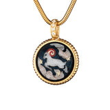 "Silver mini pendant ""Zodiac. Tribute to Alphonse Mucha - Aries"" with 18K gold plating. pzm2001"