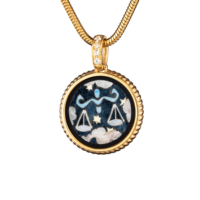 "Silver mini pendant ""Zodiac. Tribute to Alphonse Mucha - Libra"" with 18K gold plating. pzm2007"