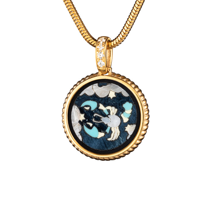 "Silver mini pendant ""Zodiac. Tribute to Alphonse Mucha - Cancer"" with 18K gold plating. pzm2004"