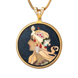 "Silver pendant ""Zodiac. Tribute to Alphonse Mucha"" with 18K gold plating. pz2000"