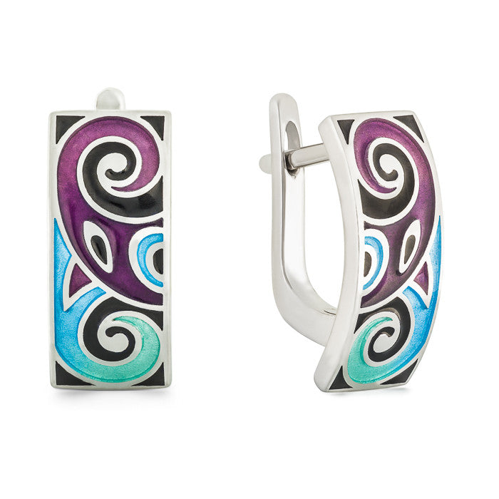 "Silver earrings ""Asgard"". eo1046 - Namfleg Enamel Jewelry"