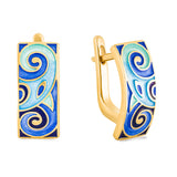 "Silver earrings ""Baldr"" with 18K gold plating. eo2004 - Namfleg Enamel Jewelry"