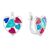 "Silver earrings ""Turquoise Heart"" es1003 - Namfleg Enamel Jewelry"