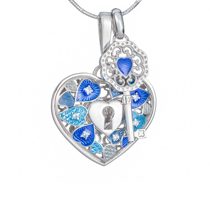 "Silver pendant and charm ""Key to my heart. Soul mates"". ph1004 & phk1004"