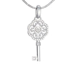 "Silver mini pendant ""Key to my heart. Soul mates"". phk1004"