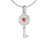 "Silver mini pendant ""Key to my heart"""