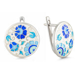 "Silver earrings ""German Baroness"". em1006 - Namfleg Enamel Jewelry"
