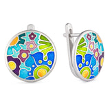 "Silver earrings ""Noble Delphinium"". eck1012 - Namfleg Enamel Jewelry"