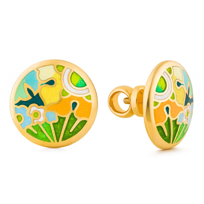 "Silver earrings ""Asian Buttercup"" with 18K gold plating. ecg2008 - Namfleg Enamel Jewelry"