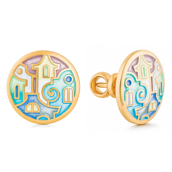 "Silver earrings ""Palazzo in Florence"" with 18K gold plating. edg2007 - Namfleg Enamel Jewelry"
