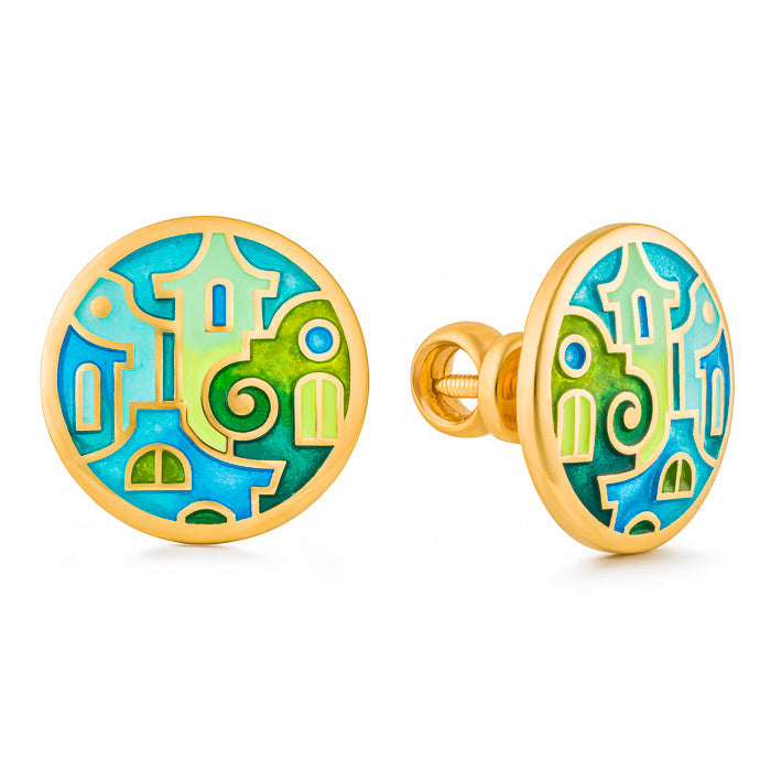 "Silver earrings ""Mostar Houses"" with 18K gold plating. Special edition. edg2006 - Namfleg Enamel Jewelry"