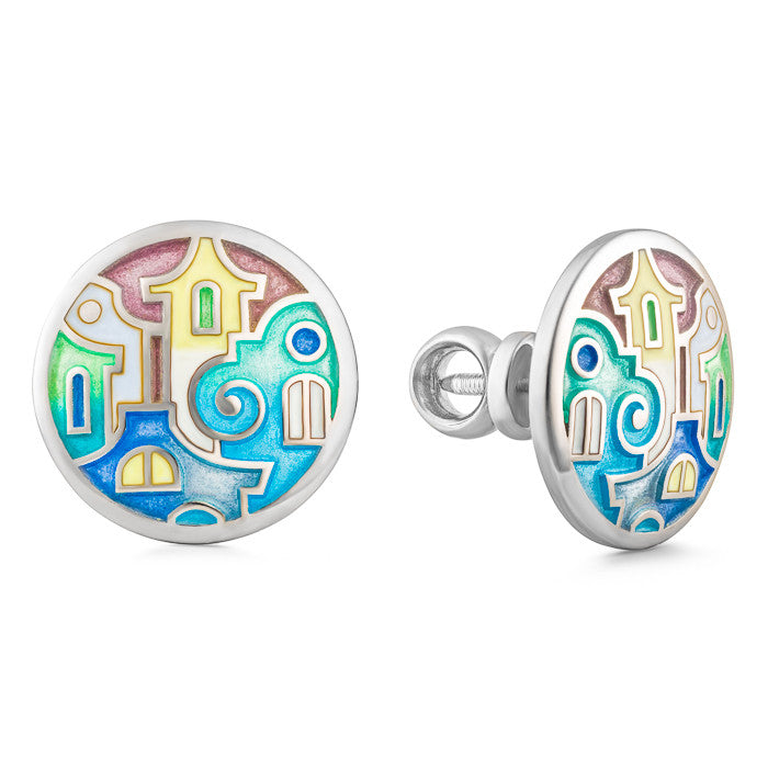 "Silver earrings ""Athens Houses"". Special Edition. edg1007 - Namfleg Enamel Jewelry"