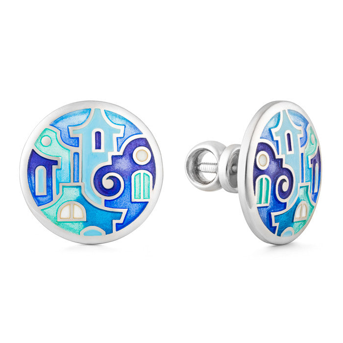 "Silver earrings ""Santorini Houses"". Special edition. edg1008 - Namfleg Enamel Jewelry"