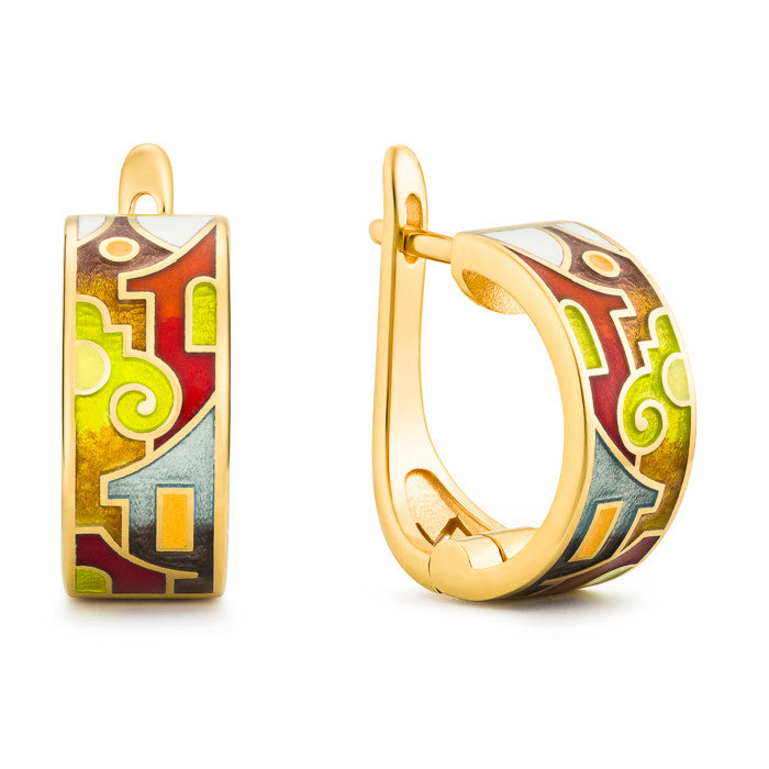 "Silver earrings ""Split Houses"" with 18K gold plating. Special edition. ed2001 - Namfleg Enamel Jewelry"