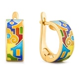"Silver earrings ""Kotor houses"" with 18K gold plating. Special edition. ed2003 - Namfleg Enamel Jewelry"