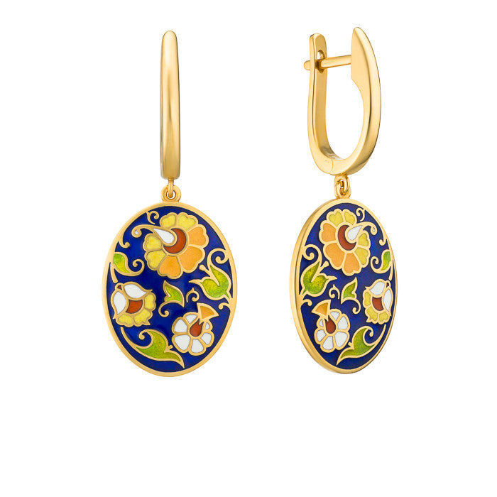 "Silver earrings ""Spanish Marquise"" with 18K gold plating. emv2004 - Namfleg Enamel Jewelry"