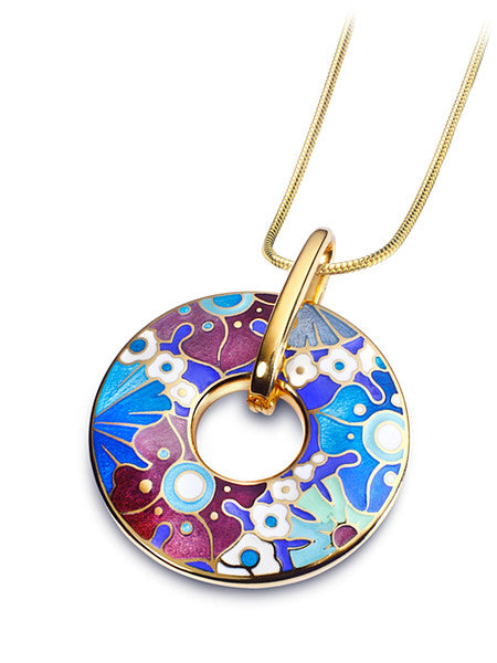 "Silver pendant ""Lush Lilacs"" with 18K gold plating. pc2003 - Namfleg Enamel Jewelry"