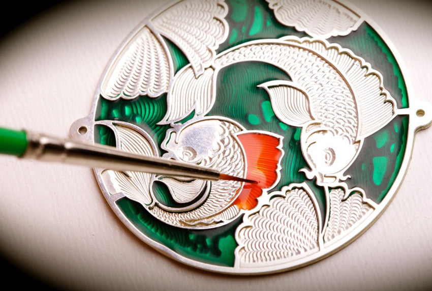 Inspiring Carps. Good Fortune. - Namfleg Enamel Jewelry