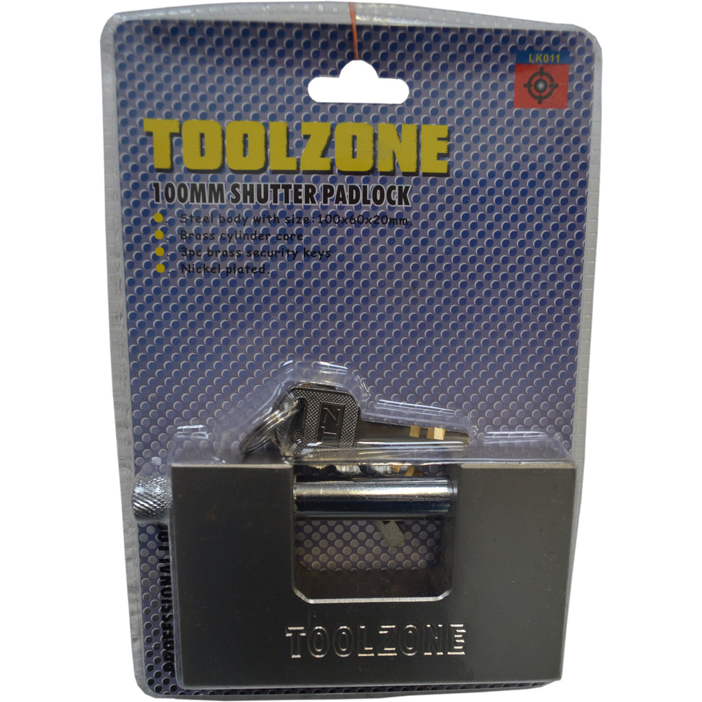 Toolzone High Security 100mm Shutter Padlock