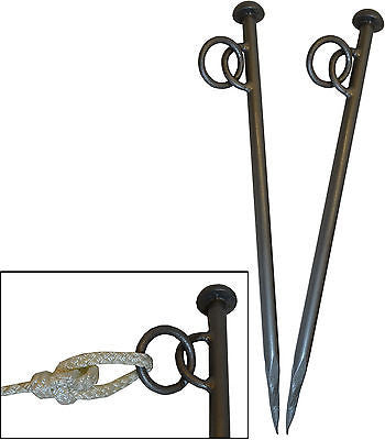 Very Heavy Duty Mooring Pegs Stakes for Canal & River Boats with Eyelet and Ring x 2 NEW 600mm x 20mm