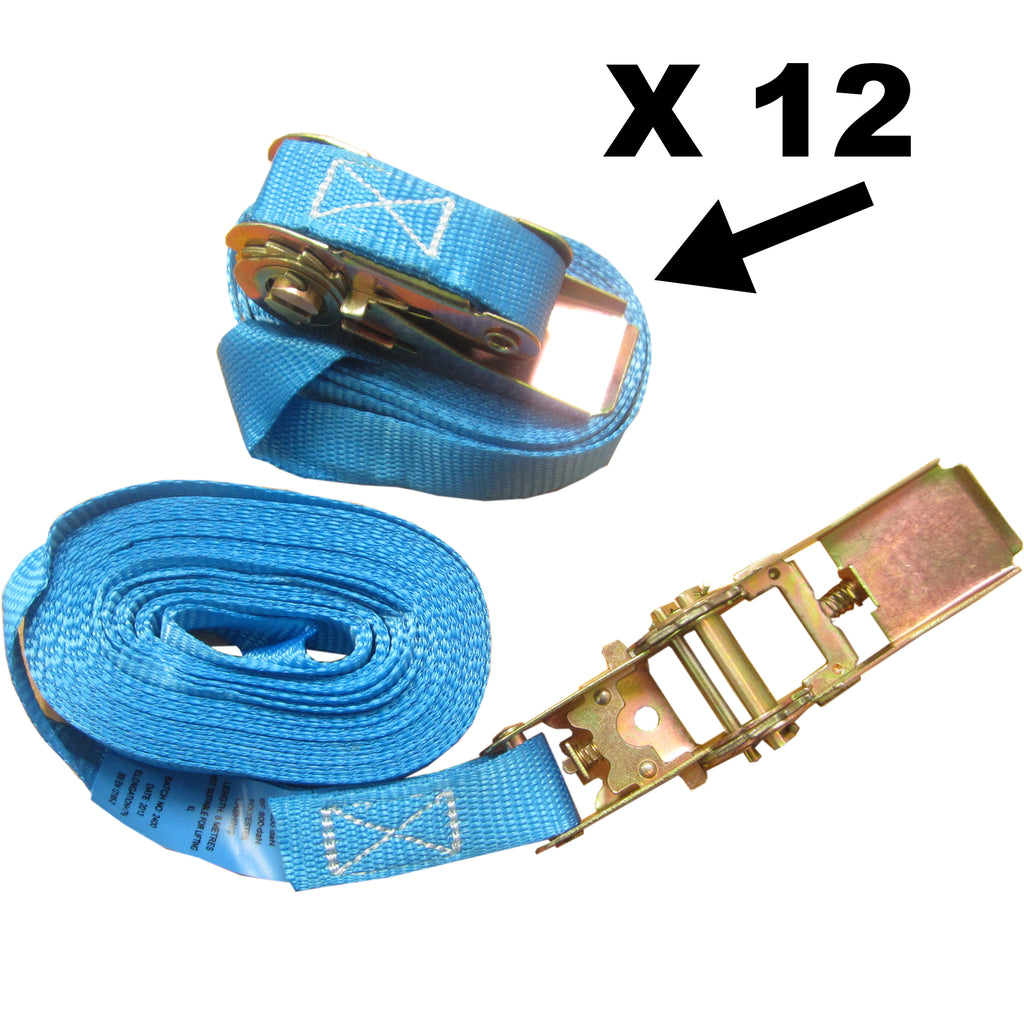 12 x 6m x 25mm Endless RATCHET TIE DOWN STRAP 800kg BLUE