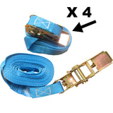 4 x 6m x 25mm Endless RATCHET TIE DOWN STRAP 800kg BLUE