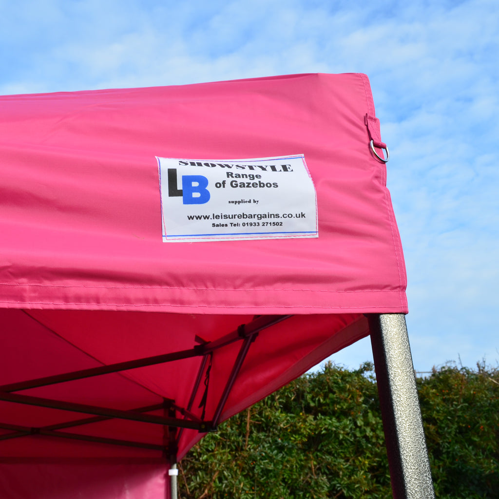Gazebo Commercial Grade SHOWSTYLE 2.5m x 2.5m Fire Retardant Shocking Pink Heavy Duty