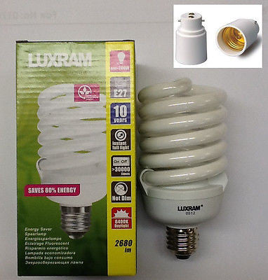 LUXRAM 40W Low Energy Compact Spiral 200W Equivalent, Super Bright light 10yr