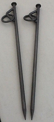 Heavy Duty Mooring Pegs x 2 Stakes for Canal & River Boats with Eyelet & Ring 600mm x 16mm