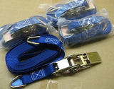 8m Ratchet Straps 800Kg BF 25mm Wide with 'D' Ring Ends. NEW x 8