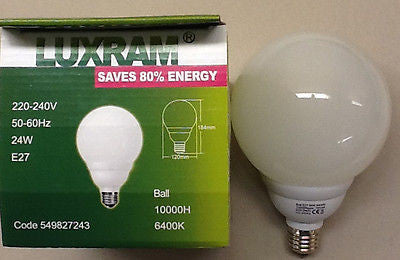 LUXRAM 24W Low Energy Supreme Ball 120W Equivalent, Super Bright light