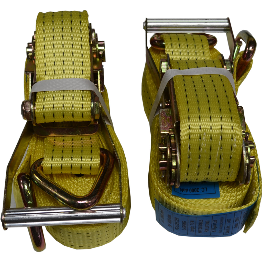8m Ratchet Straps 4 TON 50mm Wide with 'D' Ring Ends. NEW x 2 YELLOW