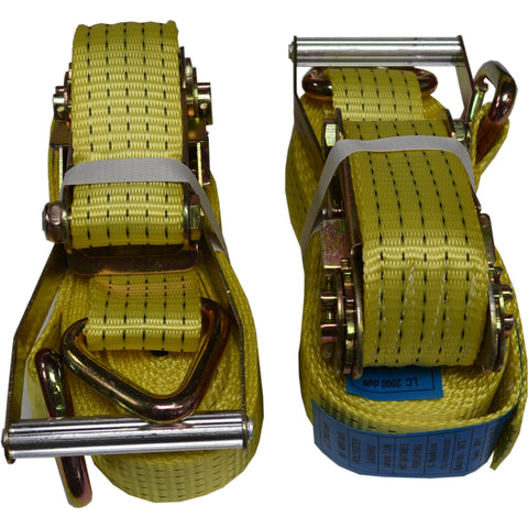 5.5m Ratchet Straps/Cargo Lash 4 TON 50mm with Claw and Loop Ends. NEW x 2