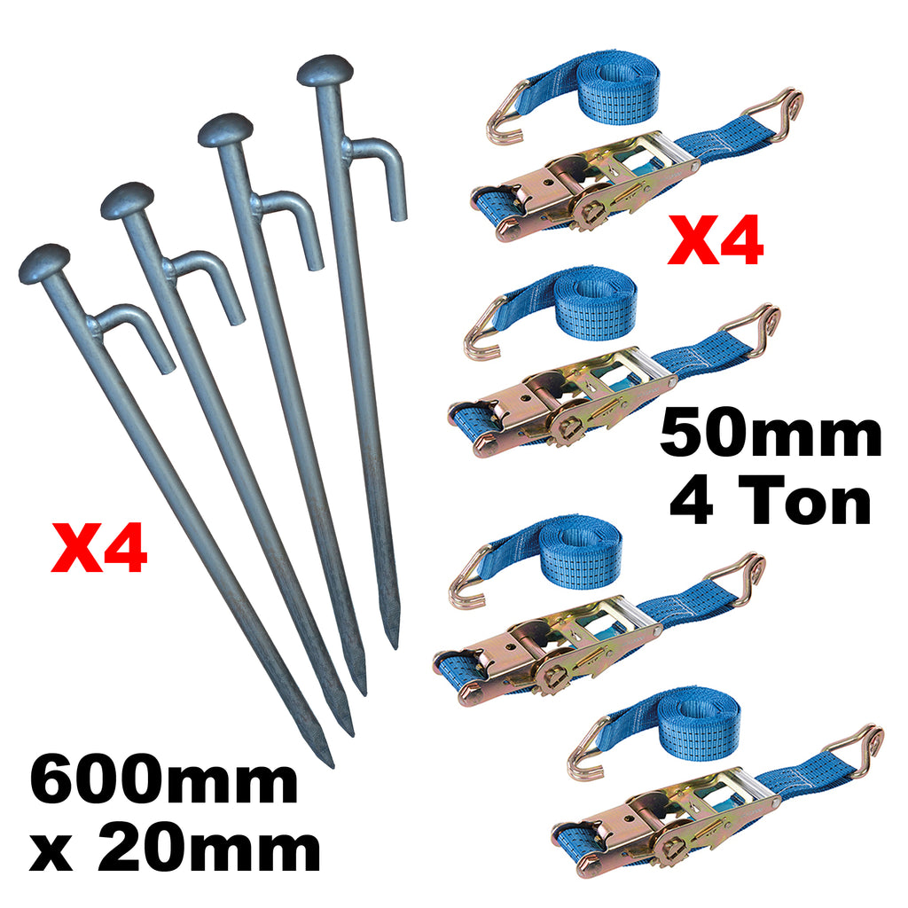 8 Piece Very Heavy Duty Ratchet Strap Tie Down Kit Gazebo + Stakes Very Strong