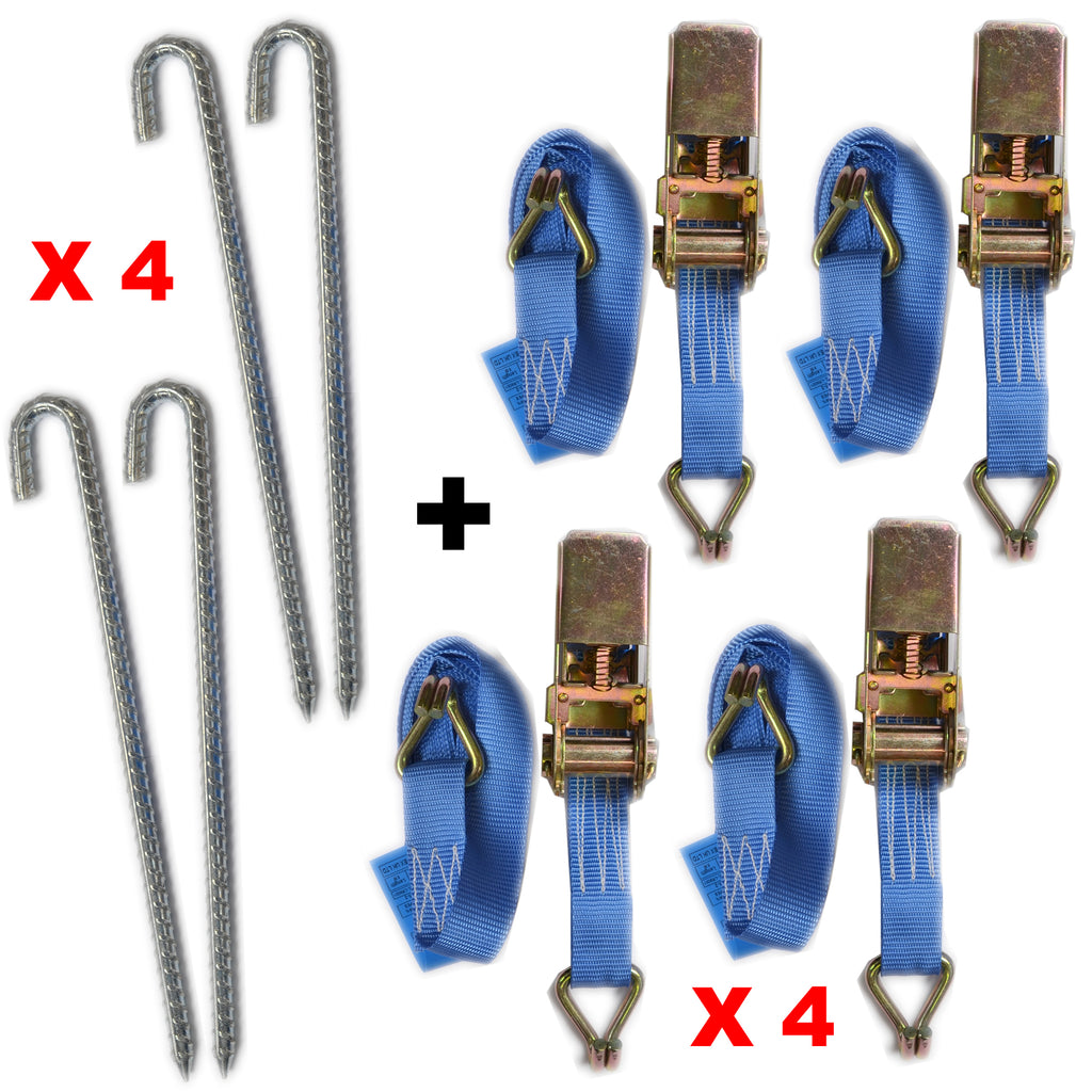 8 Piece Medium Duty Ratchet Strap Tie Down Kit Gazebo / Trampoline + Pegs Strong