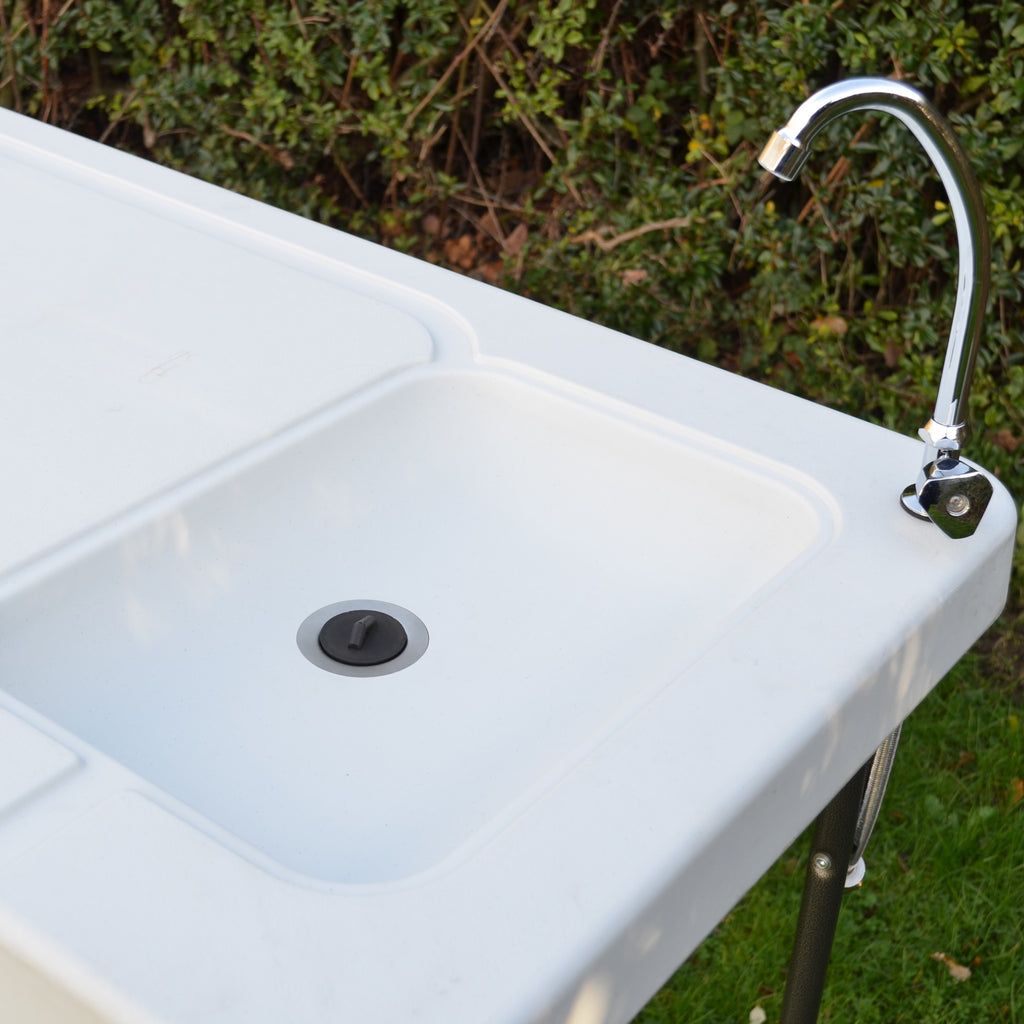 Blow moulded white sink unit/ preparation table with tap, hose pipe connector and waste pipe
