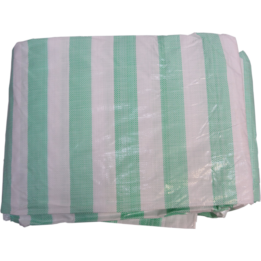 4.5 x 6.0 metre Green and White Striped Waterproof Tarpaulin Covers with eyelets