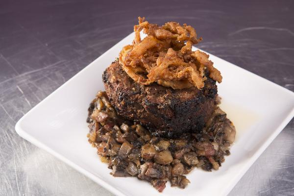 Bacon Portobello Filet with Crispy Onion Straws